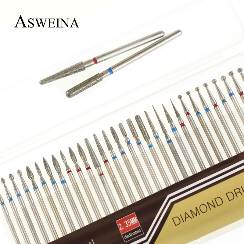 ASWEINA 30pc Diamond Nail Drill Bit Set Grinding For Electric Manicure Machine Accessories Nail Art Clean Burr Tools Kits