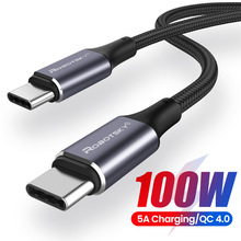 PD 100W USB C to USB Type C Cable For Xiaomi Redmi Note 8 Pro Quick Charge 4.0 Fast Charging For MacBook Pro Data Cable Cord