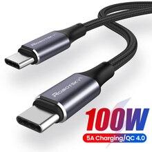 Pd 100w usb c para usb tipo c cabo para xiaomi redmi nota 8 pro carga rápida 4.0 de carregamento rápido para macbook pro cabo de dados