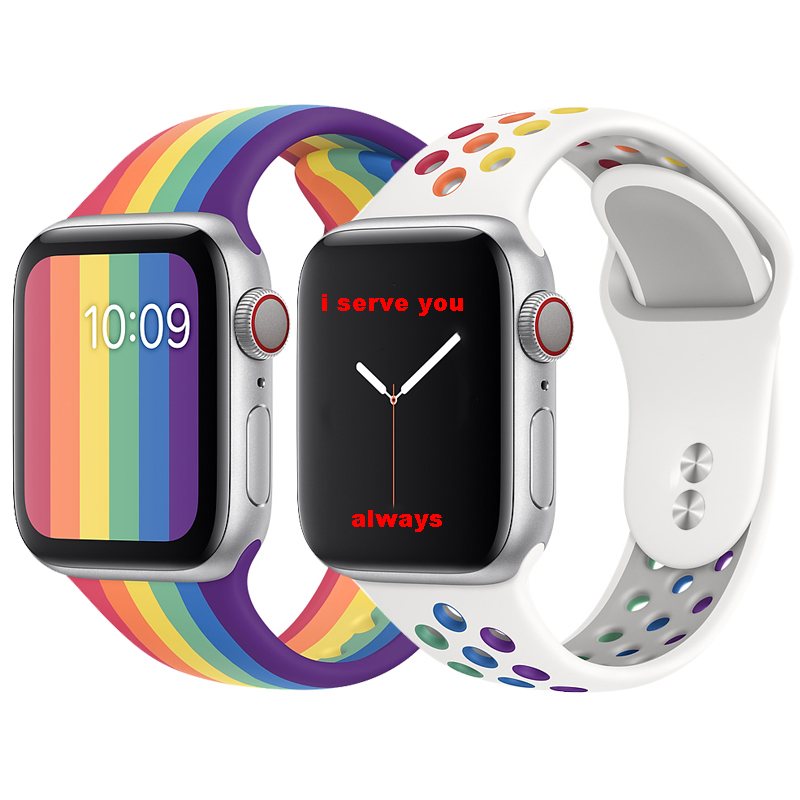 Pride Edition strap for <font><b>apple</b></font> <font><b>watch</b></font> 5 band 40mm 44mm iwatch band <font><b>42mm</b></font> 38mm silicone bracelet <font><b>correa</b></font> <font><b>apple</b></font> <font><b>watch</b></font> 5 4 <font><b>3</b></font> 2 40 44 image
