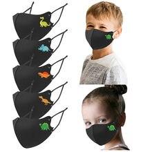 5 pçs criança lavável dinossauros impressão máscara facial reutilizável ajustável cintas boca nariz máscaras de rosto mascarillas proteger protetor facial