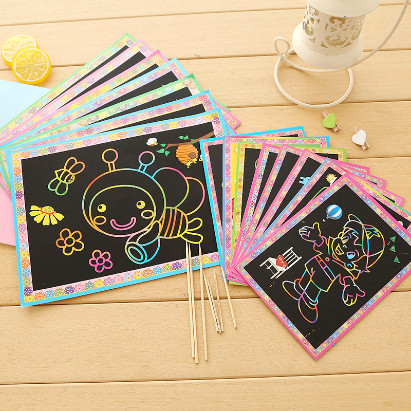 10pcs Child Magic Scratch Art Paper Magic Painting Paper Drawing Stick Painting Cards Early Educational Learning Drawing Toys