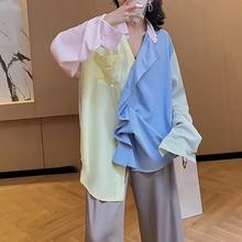 SexeMara 2019 Autumn New Full Sleeve Color Spliced Turn-down Collar Striped Ladies Fashion Loose Long Shirt CST050