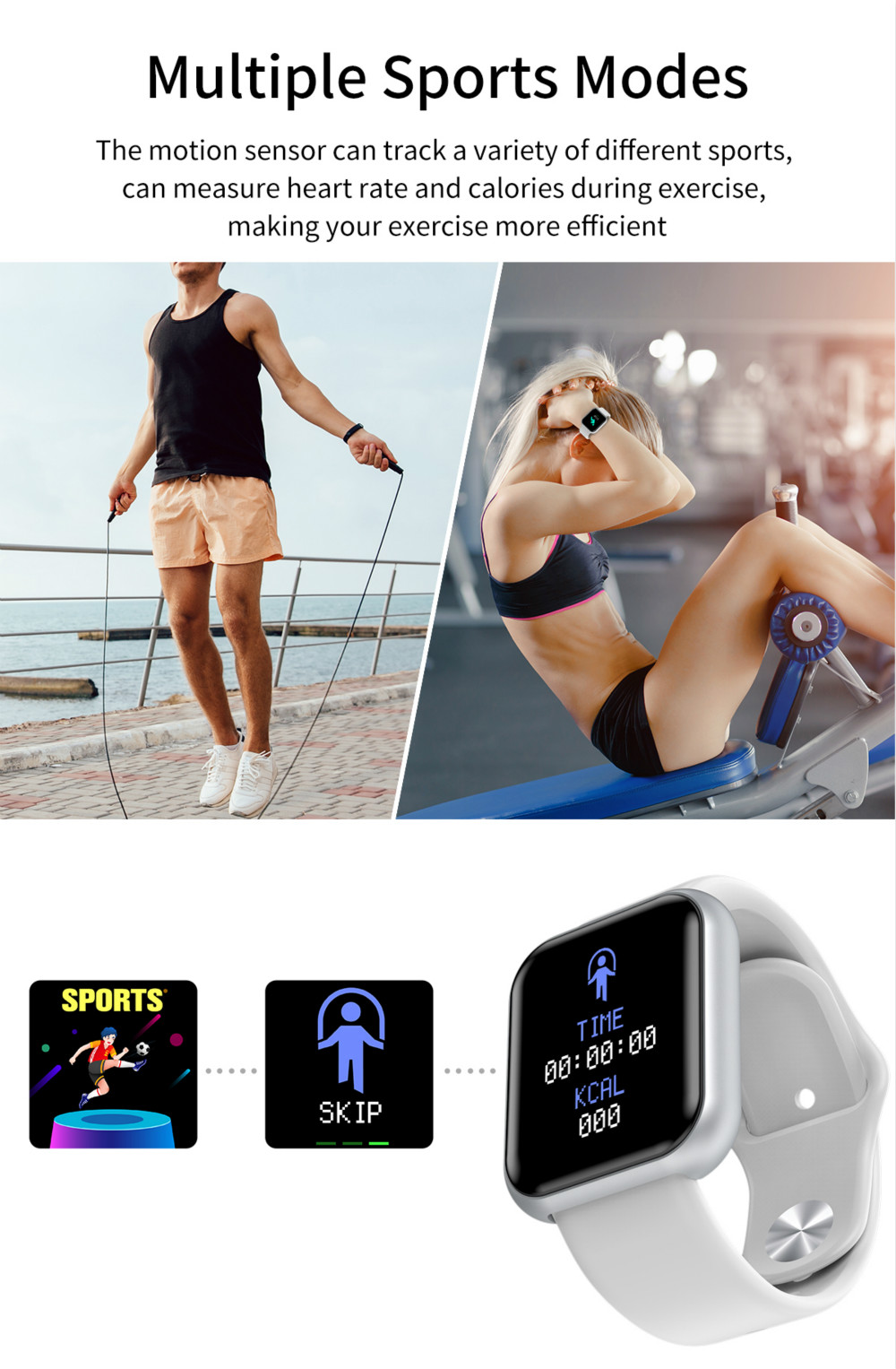 D20pro Men Women Smart Watch Waterproof Blood Pressure Smartwatch Heart Rate Monitor Sleep Tracker Clock Watch For Android IOS