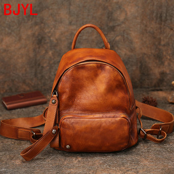 New vintage leather small backpack women bag literary original soft genuine leather female casual school backpacks bags 2020