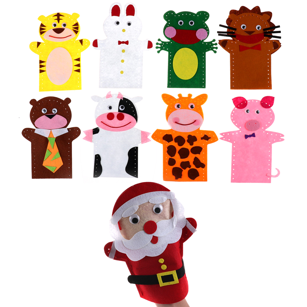 New 3D Non-Woven Cloth Animal EVA Puzzle DIY Easy Crafts Hand Puppet Kids Child Creative Activity DIY Sewing Toys