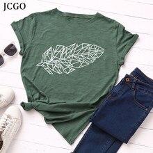 Jcgo verão das mulheres t camisa plus size 5xl algodão folha planta impressão mulher tshirts feminino manga curta casual oversized topos t