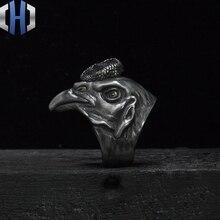 Original Design Handmade Silver Chicken Head Phoenix 925 Ring Zodiac Dark Punk Male