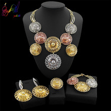Yulaili Tri-color Round Shape Rhinestone Pendant Big Necklace Earrings Bracelet Ring Dubai Gold Jewelry Sets For Women Party цена