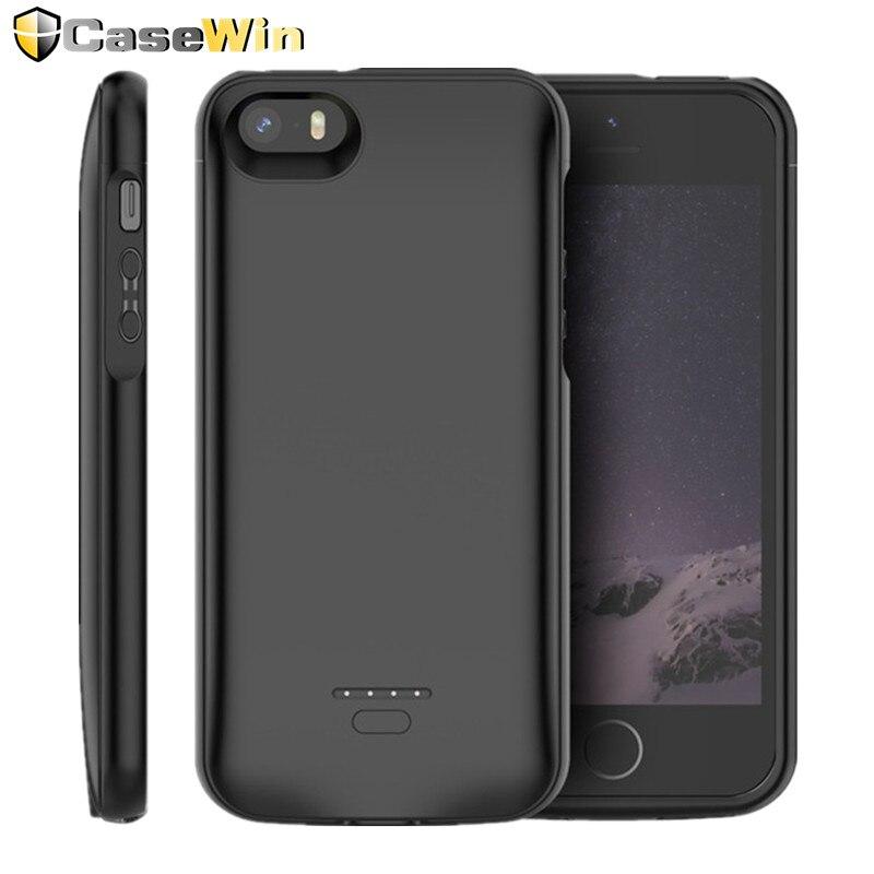 Casewin Batterij Oplader Voor Iphone Se 5SE 5 5S Cover 4000 Mah Opladen Powerbank Case Voor Iphone 5 6 7 8X11 Batterij Case