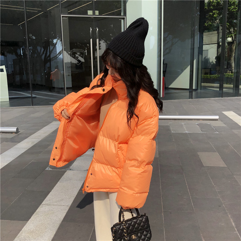Bright Colors Winter Jacket Women Parka Warm Thick Solid Short Style Cotton Padded Parkas Coat Loose Stand Collar Outwear - 2