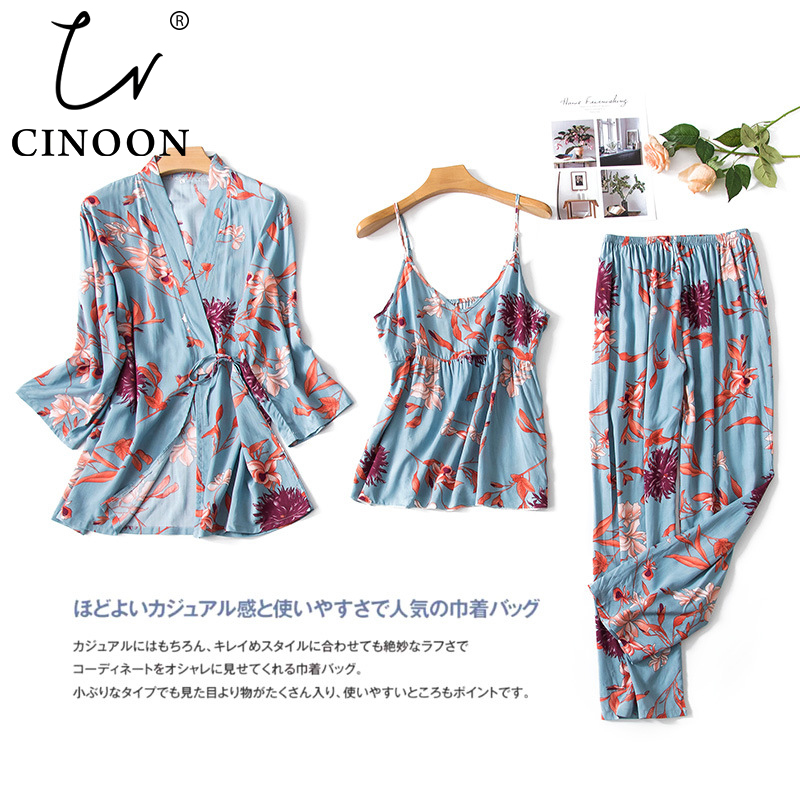 CINOON 3 PCS New Fashion Ladies Pajamas Set Floral Printed Cotton Silk Blend Fresh Style Sleepwear Set M-XXL Loungewear