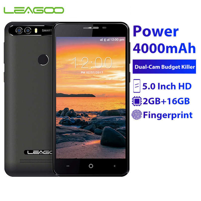 """LEAGOO KIICAA Power smartfon 2GB pamięci RAM, 16GB pamięci ROM 4000mAh 5.0 """"MTK6580 czterordzeniowy Android 7.0 ID odcisku palca 8.0MP telefon komórkowy 3G"""