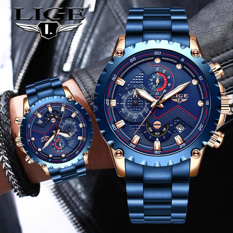 Top Merk Luik Mannen Horloges Fashion Blue Rvs Waterdichte Sport Horloge Mannen Quartz Klok Man Chronograaf Reloj Hombre