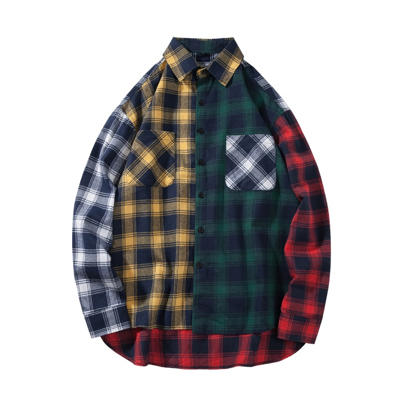 Men's Loose Plaid Shirt Casual Hip-hop Color Matching Students Long-sleeved Plaid Shirt Autumn Loose Color Matching Men's Shirt