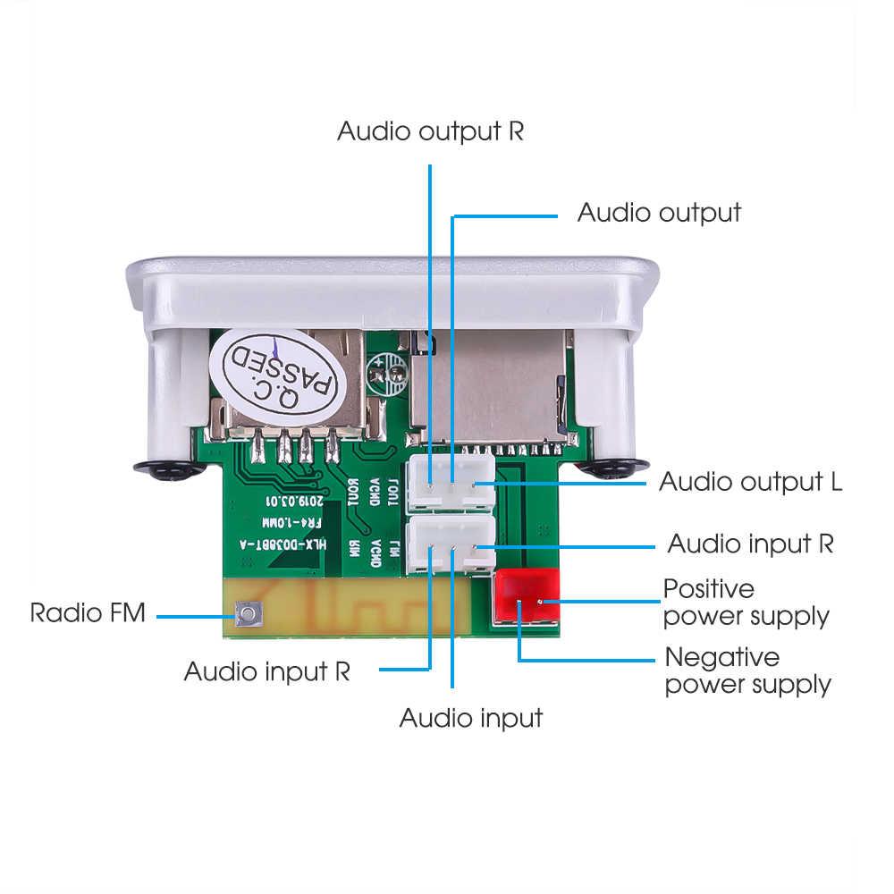 KEBIDU 5V 12V 車 MP3 プレーヤーデコーダボードオーディオモジュールワイヤレス FM 受信機ラジオ WMA FM TF USB 3.5 ミリメートル AUX 用