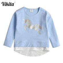VIKITA çocuklar Unicorn T shirt kız çocuk O boyun uzun kollu pamuk Vestidos Toddlers bebek kız gündelik giyim çocuk giyim