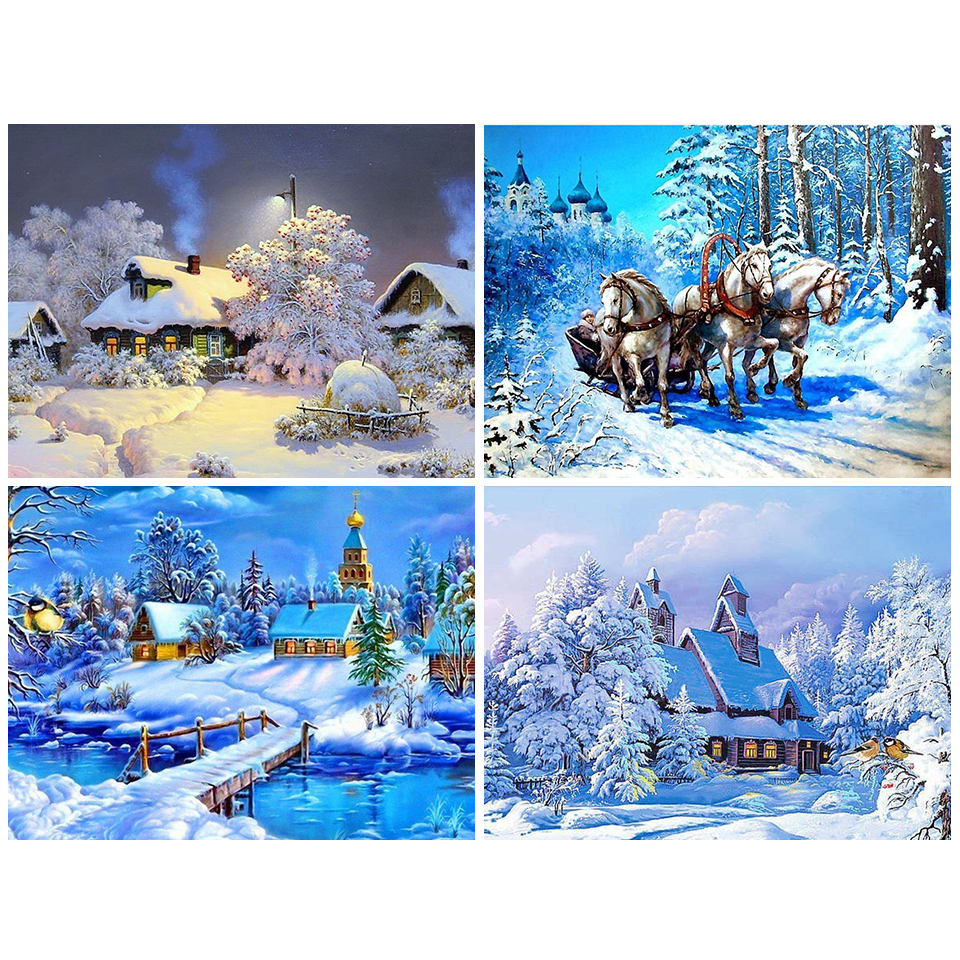 5D Diamond Painting Mosaic-Picture Cross-Stitch Rhinestones Winter Embroidery Snow-Scenery-Decor title=