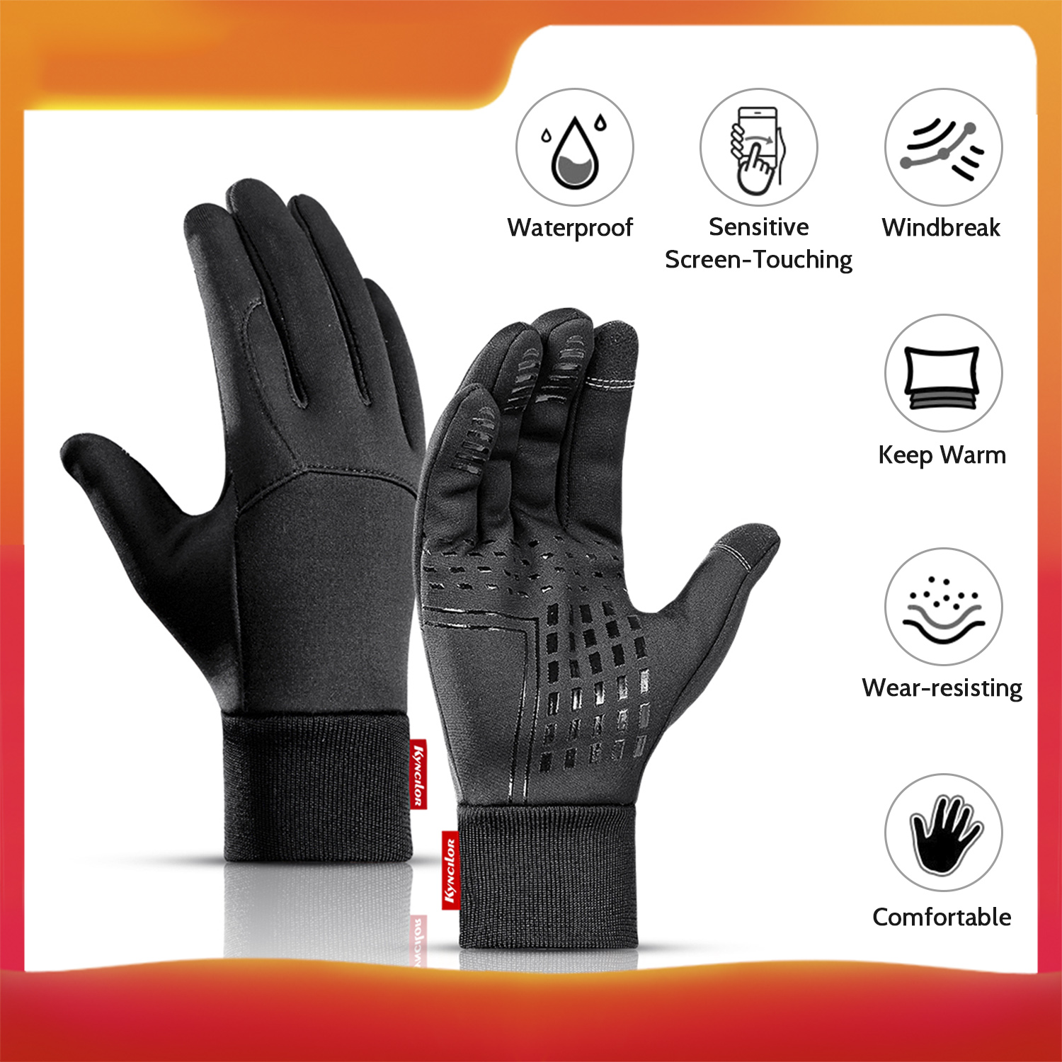 Kyncilor Outdoor Winter Sports Gloves Screen-Touching  Gloves  Warm-Keeping Gloves Cold Weather Windproof Cycling Skiing Gloves