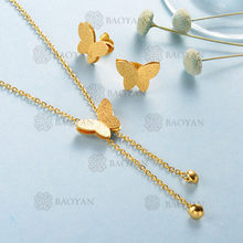 Baoyan Fashion Gold Jewelry Set Matte Gold Stainless Steel Jewelry Set Wholesale Golden Butterfly Wedding Jewelry Sets For Women(China)