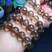 Модные украшения 12 мм натуральный камень браслет из бисера человек дымчатый кварц золотой кристалл кулон браслет балансировки
