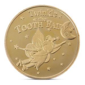 Памятная монета с позолоченными зубьями, креативная детская смена зубов, подарок для детей, запись роста