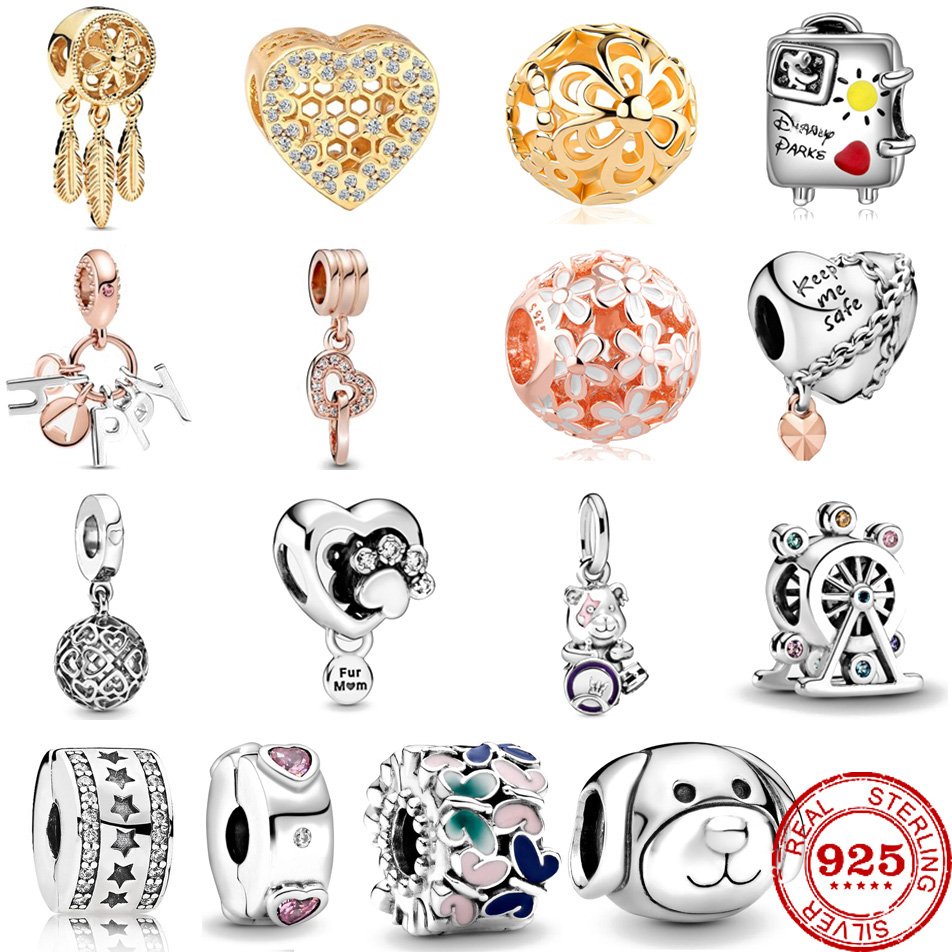 Fits Original Pandora Charms Bracelet DIY Jewelry 2020 Spring Collection Butterflies clip Charm 925 Sterling Silver Flower Beads(China)