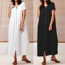 Celmia Women Vintage Dress 2019 Summer Long Dresses Short Sleeve Casual Loose Buttons Solid Party Maxi Vestidos Robe Plus Size