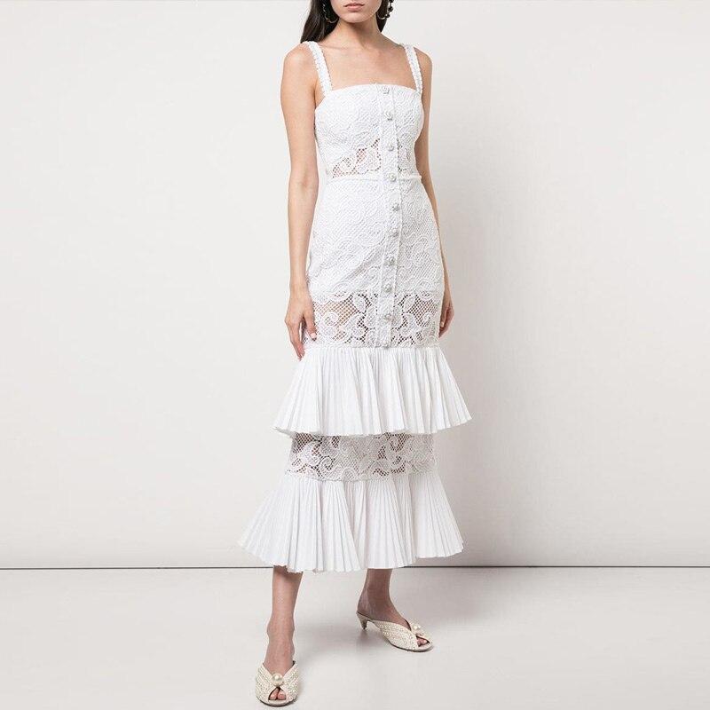2019 blanc longue robe de haute qualité Sexy sangle dentelle boîte de nuit élégant moulante sirène robes de soirée célébrité femmes robe