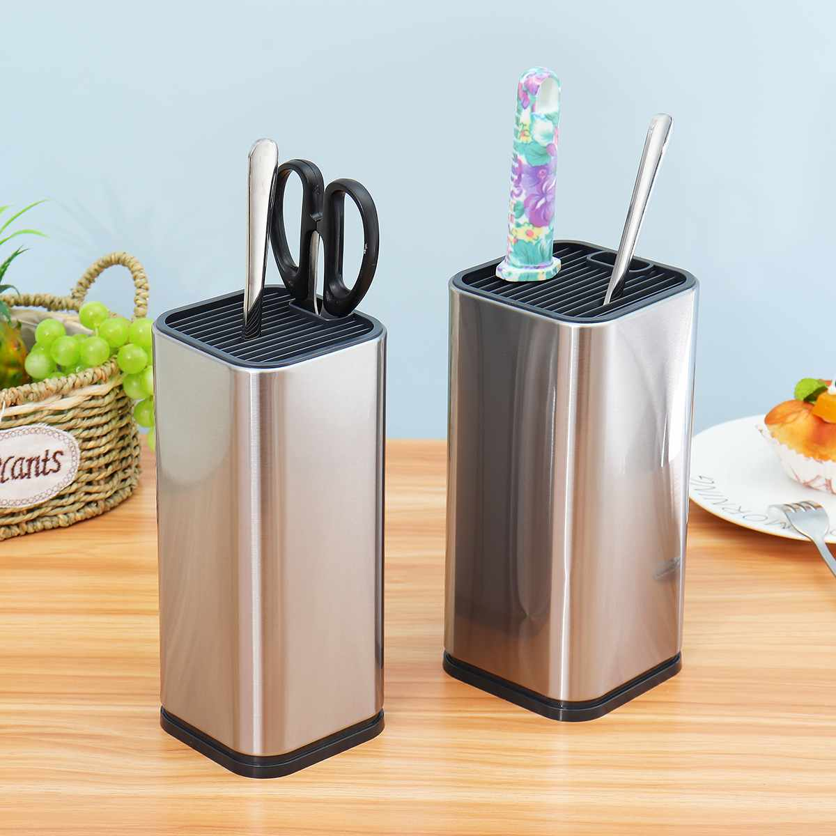 Stainless Steel Kitchen Knife Stand Tool Holder Multifunctional Kitchen Tool Holder Knife Block Sooktops Tube Shelf 2 Size
