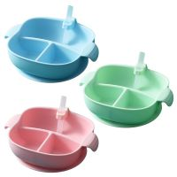 Baby Plate Divided Food Bowl with Straw Portable 3 Grid Silicone Feeding Dish