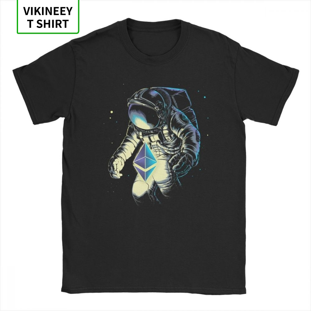 Space Ethereum T Shirt Men Cotton Funny T-Shirts Stars Galaxy Sci Spacesuit Spaceman Astronaut Tees Short Sleeve Tops Gift Idea