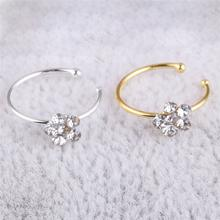 Stainless Steel Circular Nose Ring Circular Punk Small Thin Clear Rhinestone Flower Lip Ear Nose Clip On Fake Piercing Hot(China)
