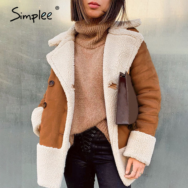 Simplee Vintage suede patchwork fur coat women Autumn winter buttons pockets female warm overcoat Streetwear ladies long jackets