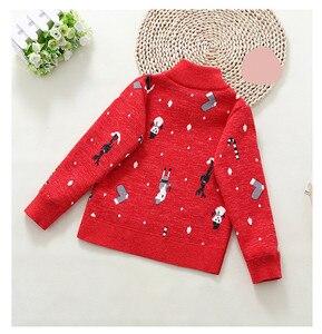 Image 2 - 2020 inverno das crianças roupas meninas camisolas casual impresso engrossar lã de malha do bebê menina pullovers camisola para menina crianças