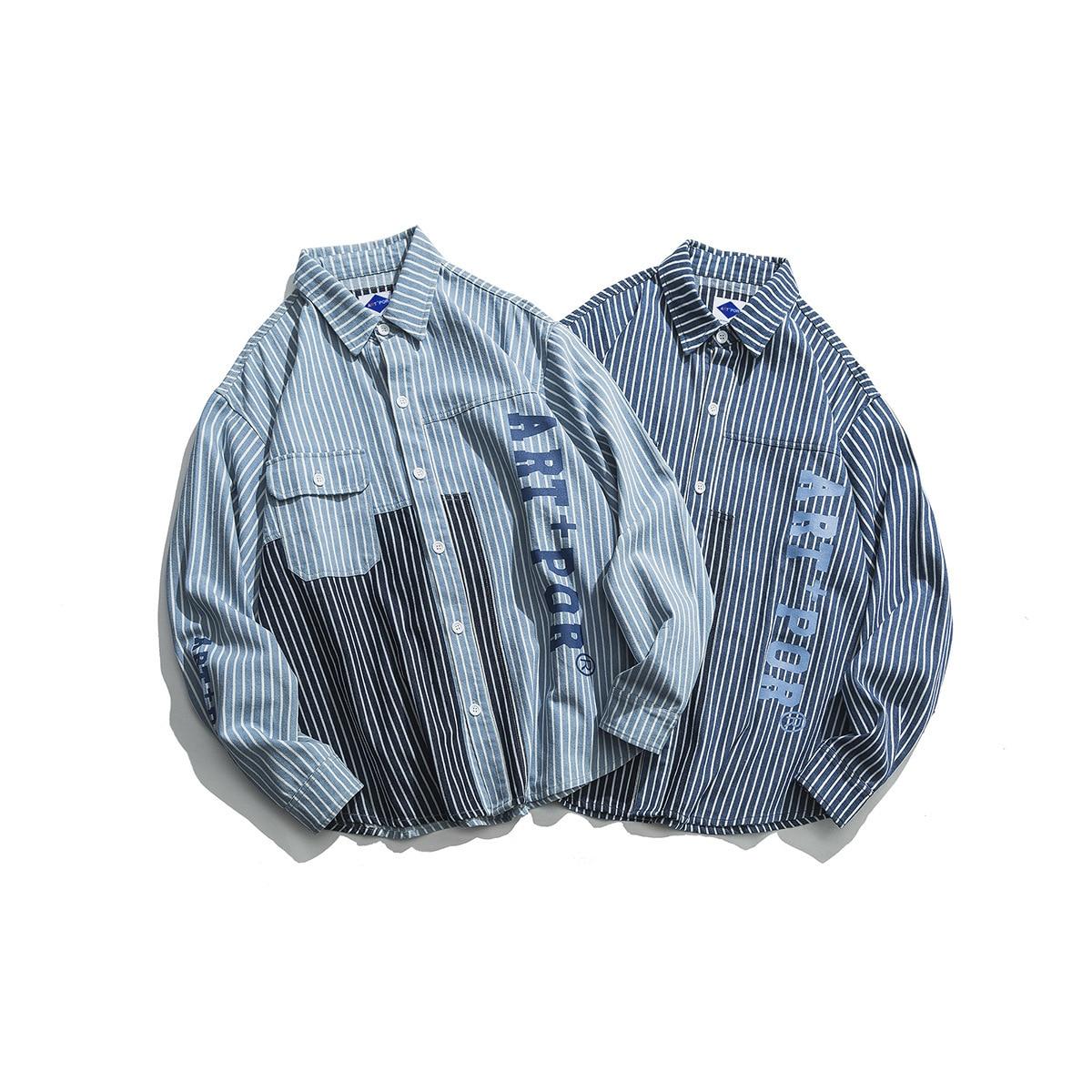 0902 Spring Striped Denim Shirt Men Loose Long Sleeve Vintage Loose Japanese Streetwear Spliced Color Hip Hop Shirt Men Fashion in Casual Shirts from Men 39 s Clothing