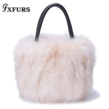 2019 New Real Raccoon Fur Lady Bags Cowhide Handbag Winter White Hair Popular Cross-body Single Shoulder Bag Women
