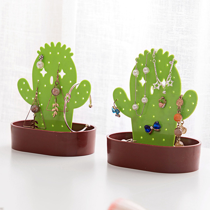 Resin Green Cactus Jewelry Plate Rack Holder Organizer Necklace Earring Display Show Rack Decorative Shelves Jewelry Shelf Stand