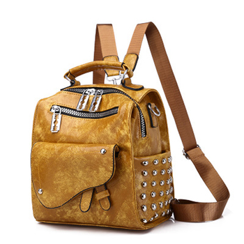 High Quality PU Leather Rivet Backpacks for Teenage Girls School Shoulder Bags Backpack Multi-function Women Small mochila mujer
