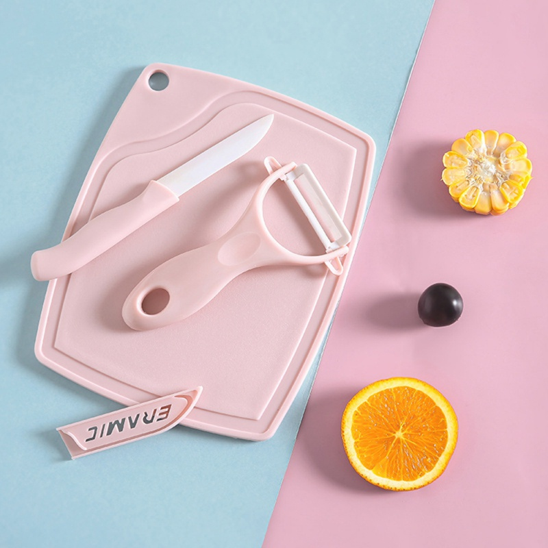 Environmentally Pu Ceramic Knife Set With Fruit/Vegetable Peeler Cutting Board Plastic Chopping Blocks Pink
