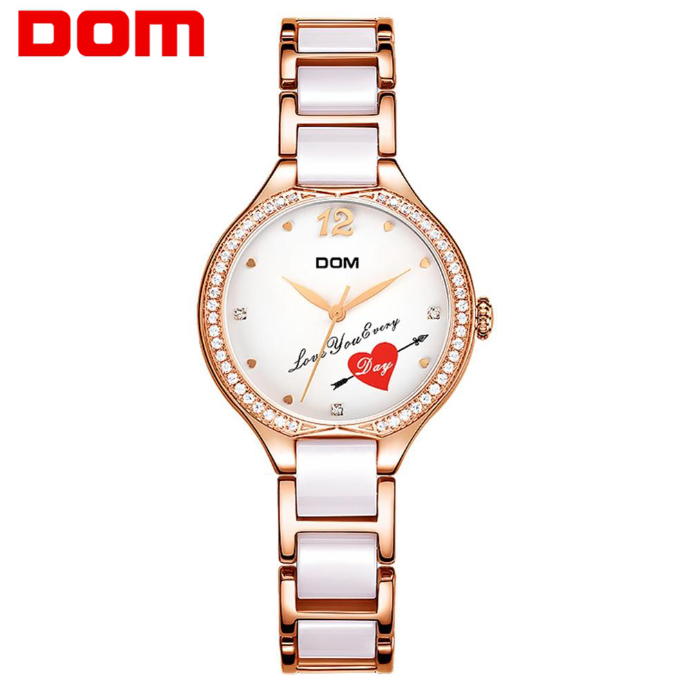 DOM Fashion Women Watches Ladies Top Brand Luxury Ceramic Bracelet Rhinestone Sport Quartz Watch Women Waterproof Watch Relogio