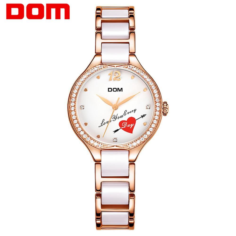 DOM Fashion Women Watches Ladies Top Brand Luxury Ceramic Bracelet Rhinestone Sport Quartz Watch Women Waterproof Watch Relogio|Women's Watches| |  - title=