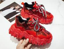 2020 New Women Chunky Sneakers Designer Dad Shoes Platform Shining Black Red Ladies Ulzzang Fashion Leather Casual Shoes Woman(China)