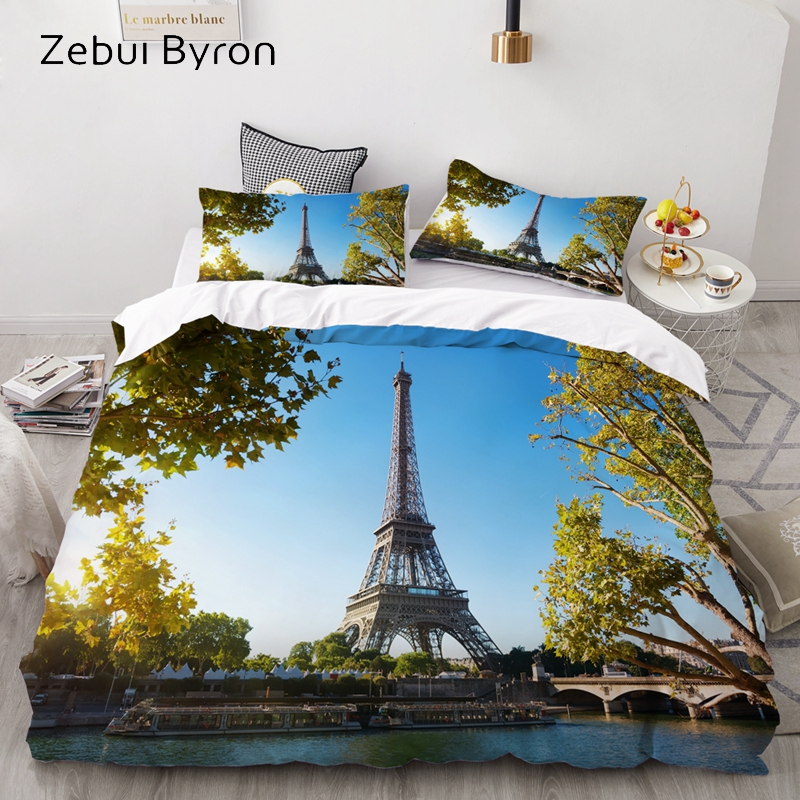3D Bedding Set Custom/King/AU Size,Duvet Cover Set Queen/King,Quilt/Blanket Cover Set,Paris Eiffel Tower Bedclothes,textile