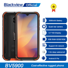 Blackview BV5900 IP68 wytrzymały telefon Android 9 0 Pie 3GB + 32GB 5580mAh wodoodporny telefon komórkowy 5 7 cala NFC 4G telefon komórkowy tanie tanio Nie odpinany CN (pochodzenie) Zamontowane z boku Cdma Inne 13MP 4050 Nonsupport Wspólnie z gniazdo karty SIM english Rosyjski
