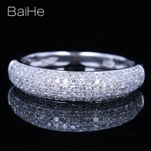 BAIHE Solid 14K White Gold 0.5CT Certified H/SI Round Cut Genuine Natural Diamonds Wedding Women Trendy Fine Jewelry Ring solid 14k rose gold natural diamonds women stud earrings cut romantic fine jewelry engagement wedding earrings