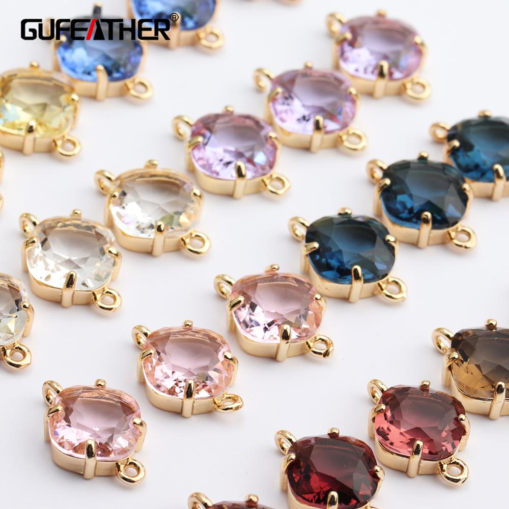 GUFEATHER M438,jewelry Accessories,diy Bracelet,copper Metal,hand Made,glass Pendant,charms,jewelry Making,diy Earring,10pcs/lot