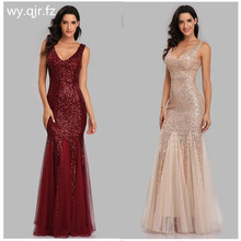 HJQ-813#Evening Dress Long Golden Burgundy Dark blue Fishtai