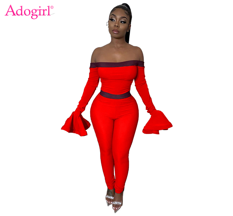 Adogirl Fashion Sexy Off Shoulder Long Flare Sleeve Jumpsuit Strap Patchwok Slash Neck Skinny Romper Casual Overalls Club Outfit