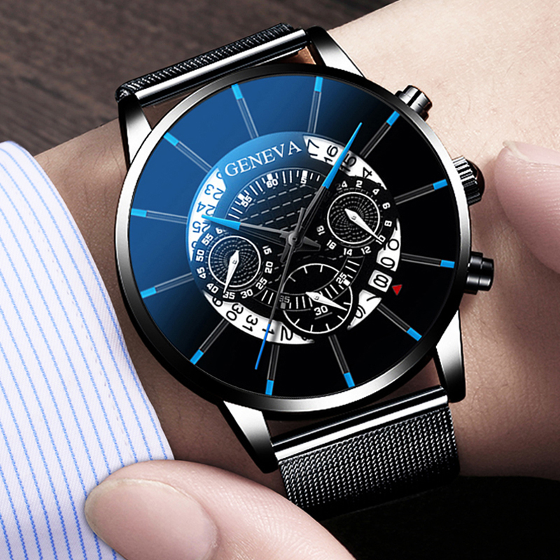 GENEVA TOP Brand Luxury Watch Men Fashion Business Calendar Stainless Steel Quartz Wrist Watch Male Clock Relogio Masculino